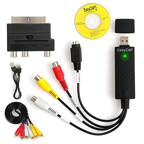AUTOUTLET USB 2.0 Audio Video Grabber | inkl. Zubehörset Scart zu RCA / S-Video Adapter, RCA zu RCA Kabel | VHS - Videoadapter zur Bearbeitung Nachbearbeitung | für Windows 10/8/7/ Vista/XP