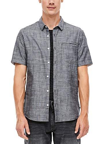 Q/S designed by - s.Oliver Herren Extra Slim: Hemd mit Webmuster grey L