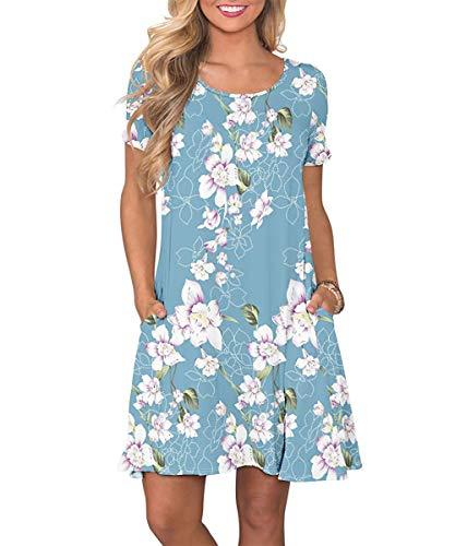 Yidarton Sommerkleid Damen Casual Lose Kurzarm T-Shirt Kleider Elegant Boho Blumen Strand Kleider mit Taschen(bl,XL)