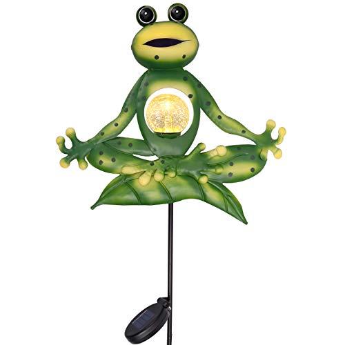 TERESA'S COLLECTIONS Solarleuchten für Außen 89cm Gartenfigur Frosch Yoga Metall Solar Wegeleuchte Wetterfest Gartendeko Figuren Led Steckleuchten mit Tageslichtsensor und Erdspiess für Hof Terrasse