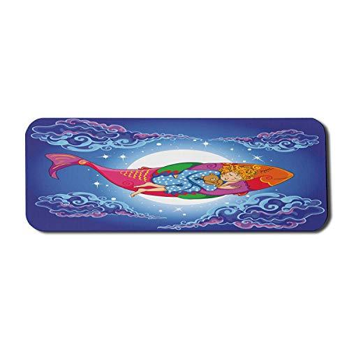 Fisch Computer Mauspad, schlafendes Baby schwimmend auf Cartoon Fisch im Himmel Big Moon Stars Wolken Dreamy Design, Rechteck rutschfeste Gummi Mousepad große mehrfarbig