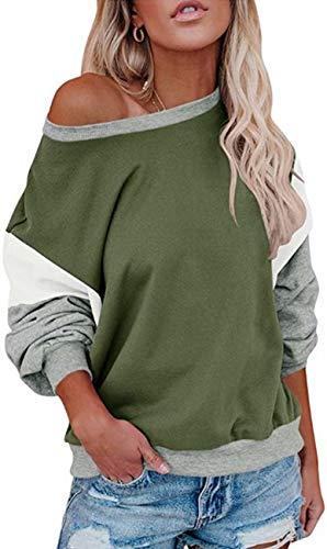 Damen Lose Fledermausärmel Sweatshirt Farbblock Pullover Oberteile Frauen Freizeit Rundhals T-Shirt Bluse (Olivgrün, L)