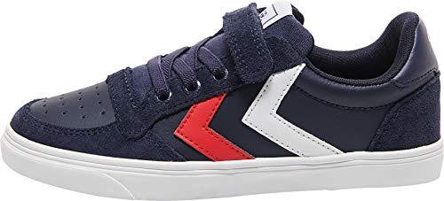 Hummel Unisex-Kinder Slimmer Stadil Leather Low Jr Sneaker Niedrig, Peacoat, 28 EU