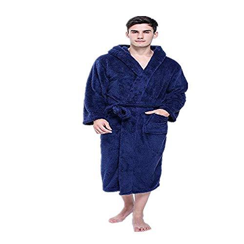 XGTsg Männer - Bademantel Lovers'Nightgowns Mit Mützen Verlängert Und Verdickt Bademantel Lange Nachthemden Für Männer Und Frauen,Blau,XXL