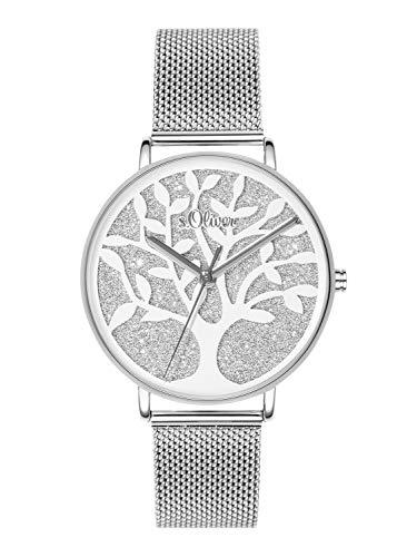 s.Oliver Time Damen Analog Quarz Uhr mit Edelstahl Armband SO-3595-MQ