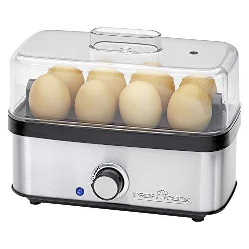 Profi Cook PC-EK 1139 Eierkocher für bis zu 8 Eier, Omelett-/Pochier-Funktion, Akustisches Endsignal, edelstahl