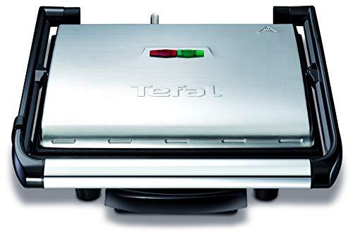 Tefal Kontaktgrill Inicio GC241D [Elektrogrill / Sandwichtoaster; fettarmes Grillen; Panini, Toasts, Steak, Gemüse und mehr; antihaftbeschichtete gerillte Grillplatten, gesund dank wenig Öl; 2000W]