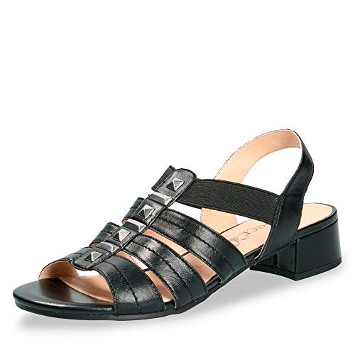 CAPRICE 28204-22 Damen Elegante Sandalette aus Glattleder 35-mm-Absatz Weite G, Groesse 38 1/2, schwarz