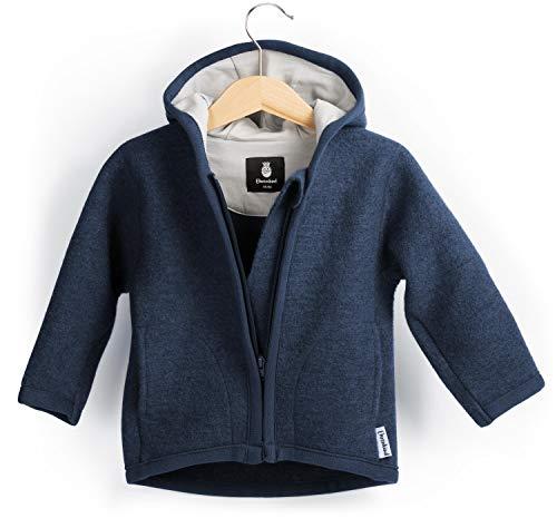 Ehrenkind® Walkjacke | Jacke für Kind aus Natur Schurwolle mit Reißverschluss | Walk Jacke für Baby | Blau Gr. 86/92