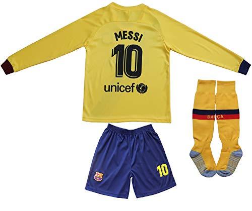 2019/2020 Lionel Messi #10 Auswärts Lange Ärmel Kinder Fußball Trikot Hose und Socken Kindergrößen (Away, 24 (6-8 Jahre))