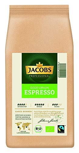 Jacobs Professional Good Origin Espresso, 1kg Bohnenkaffee, ganze Bohne, 100% Fairtrade und Bio-zertifiziert