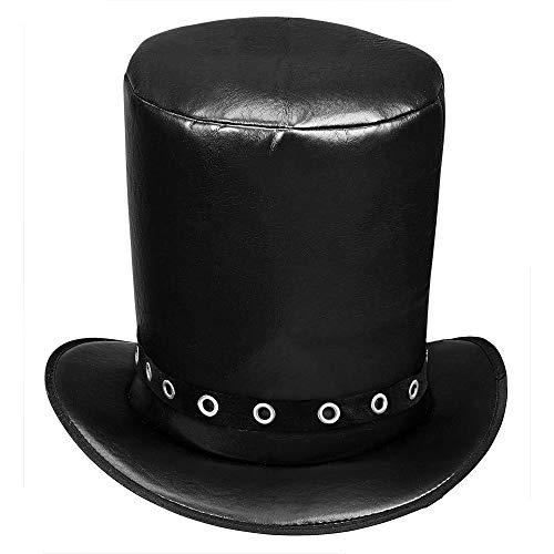 Widmann 03609 – Zylinder im Lederlook, Schwarz, Kopfbedeckung, Hut, Kostümaccessoire, Rockeroutfit, Bikerkostüm, Dia De Los Muertos, Motto Party, Karneval