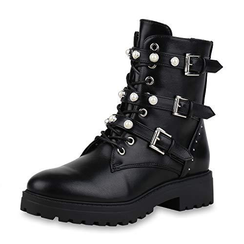 SCARPE VITA Damen Stiefeletten Leder-Optik Plateau Boots Zierperlen Nieten Schuhe Knöchelhohe Stiefel 154034 Schwarz Schwarz Black 37