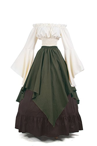 Nuoqi Mittelalter Kleid mieder Mittelalter Damen Renaissance Kleid, M, Grün/Braun