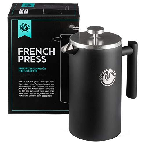 French Press Kaffeekanne aus doppelwandigem Edelstahl Schwarze Pressfilterkanne Französische Kaffeepresse