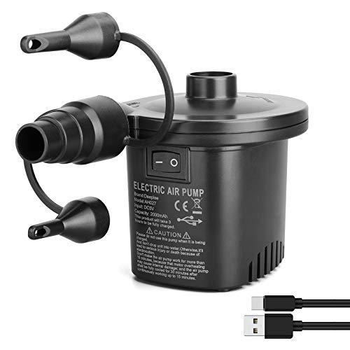 Deeplee Elektrische Luftpumpe USB Luftmatratze Pumpe, 2 in 1 Elektropumpe Power Pump Inflator Deflator mit 3 Luftdüse für aufblasbare Matratze,Kissen,Bett,Boot,Schwimmring