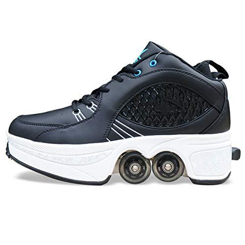 QINAIDI Schuhe Roller, Roller Sneakers Schuhe Räder, Quad Roller Pulley Schlittschuhe für Erwachsene Outdoor-Sportarten,Schwarz,38