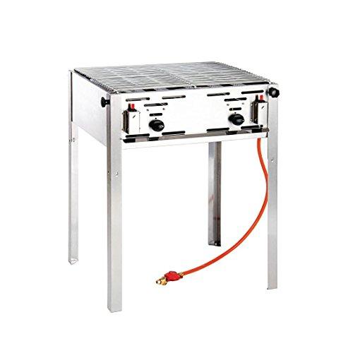 HENDI Grill-Master maxi, Elektronisches Zündgerät, nur für Verwendung im Aussenbereich, für Gasflaschengas (Propan/Butan), 11,6kW(Hs), 650x540x(H)840mm, Edelstahl 18/0