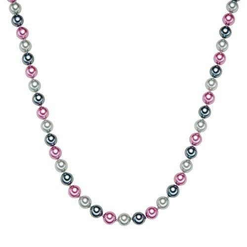 Rafaela Donata Damen-Perlenkette Muschelkernperle grau anthrazit pink Sterling Silber - Perlenkette Multicolor Halskette Perlen Kette Silber