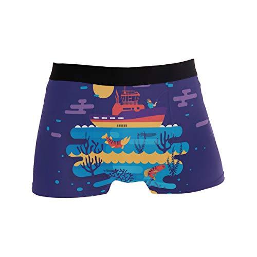 Herren Unterwäsche Boxershorts mit Fisch-Motiv, bequem, lässig, Alltags-Boxershorts für Männer Gr. S, Schwarz