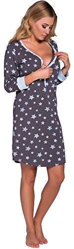 Nachthemd Damen Geburt Stillnachthemd Mutterschaft Schwangerschaft Nachtwäsche Umstandsmode mit Durchgehender Knopfleiste geburtshemd für Schwangere (L, Rosa Grau) (M, Blau/Graphite)