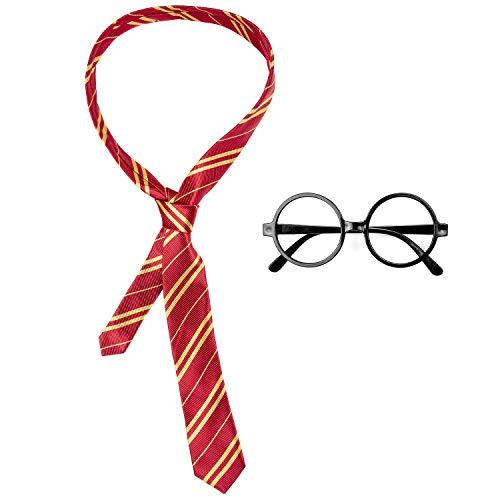 Comius Sharp Brille Krawatte Kostüm für Kinder Cosplay Kostüme Accessoires Set, Schule Junge Kostüm Striped Tie mit Neuheit Brillengestell für Schule Mädchen Jungen Kostüm Cosplay Halloween