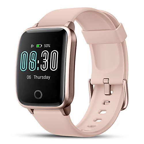 Smartwatch, LIFEBEE Fitness Armband Fitness Tracker IP68 Wasserdicht Fitness Uhr mit Schlafmonitor Stoppuhr Pulsuhr Schrittzähler Smart Watch für Damen Herren Armbanduhro Sportuhr für iOS Android-Rosa