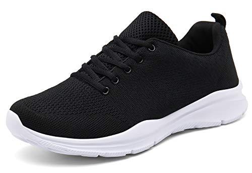 KOUDYEN Laufschuhe Atmungsaktiv Turnschuhe Schnürer Sportschuhe Sneaker für Herren Damen, Schwarz, 43 EU