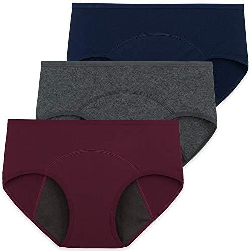 INNERSY Damen Menstruations Periodenunterwäsche Baumwolle Kaiserschnitt Unterhose 3er Pack (48, Marine/Grau/Weinrot)