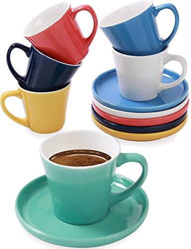 Espressotassen 6er Set Bunt mit Untertassen - Keramik - Hält Lange Warm - Moderner Farbmix - Geschenkbox - 70ml