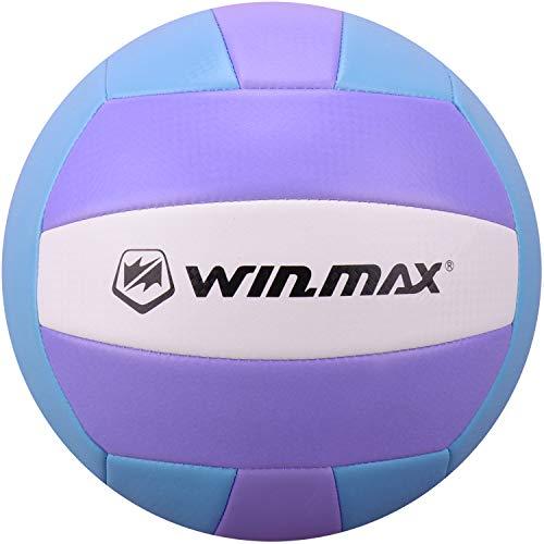 WIN.MAX Beachvolleyball,Volleyball,Beach und Funball Größe 5 Weicher Ballkontakt (Blau/Lila)