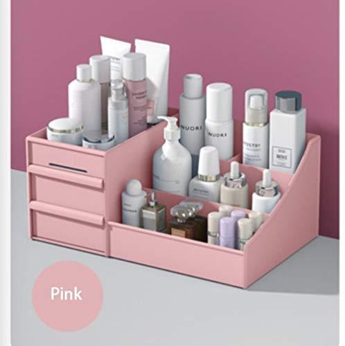 LGFSG Kosmetik Organizer Größere Kapazität Organizer Box Kosmetik Schmuck Nagelkosmetik Aufbewahrungsbox Desktop, Pink, 32,5 x 19,5 x 13,8 cm