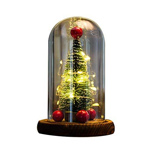 Sarplle Weihnachtsbaum LED Nachtlicht Desktop Ornament Glas Abdeckung Festliche Dekoration Weihnachten Geschenke mit USB-Lichterkette für Home Party Dekoration 14 * 9cm