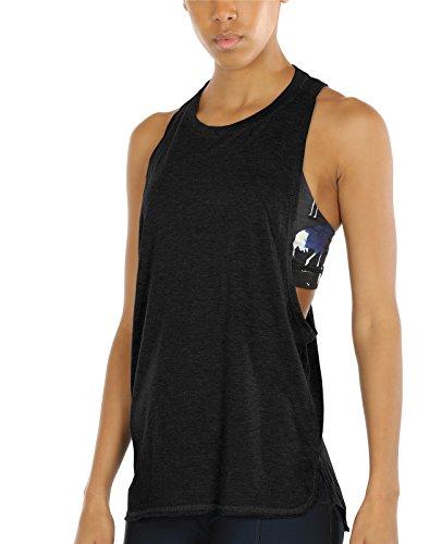 icyzone Sport Tank Top Damen Locker - Yoga Fitness Shirt Racerback Oberteile atmungsaktive (Black, M)