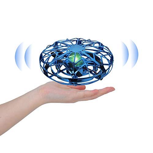 Sinwind UFO Mini Drohne für Kinder, Hubschrauber Quadrocopter mit 360°Rotierenden, wiederaufladbares Flugspielzeug für Kinder im Alter von 5 bis 15 Jahren, Kindergeschenke (Blau)