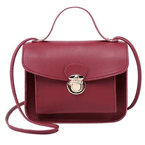 COZOCO Frauen Mode Schultertaschen kleine Rucksack vielseitige Geldbörse Handy Messenger Bag Handytasche(rot,)