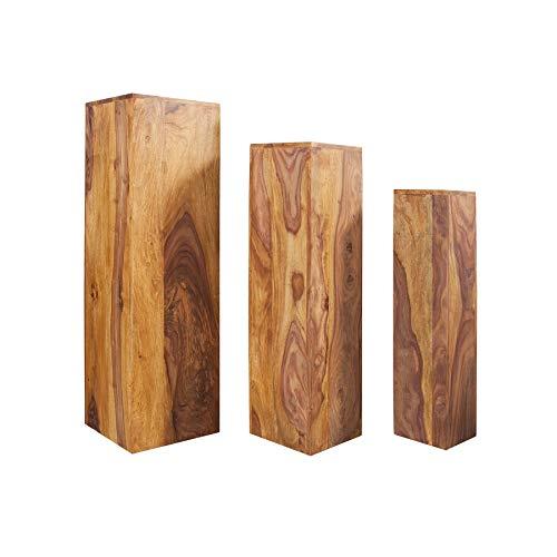 Invicta Interior Design Beistelltisch Säule MAKASSAR 3er Set 80cm/70cm/60cm hoch Sheesham Stone Finish Beistelltische Tische