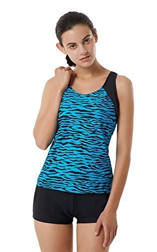 LULUWINGX Damen Tankini Badeanzug Racerback Badeanzug Athletic Bademode mit Boyshorts UV-Schutz UPF 50+(Large)