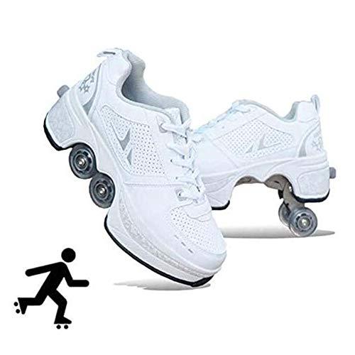 HealHeatersⓇ Rollschuh Roller Skates Lauflernschuhe, 2 in 1 Mehrzweckschuhe Schuhe Mit Rollen Skateboardschuhe Für Damen, Mädchen,Weiß,40