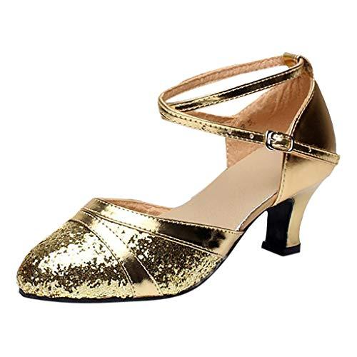 Deloito Damen Mode Elegant Ballsaal Tango Latein Salsa Tanzschuhe Party Hochzeit Sozial Pailletten Schuhe Weicher Boden Spitze Absätze Tanzschuh (40 EU, Gold-B)