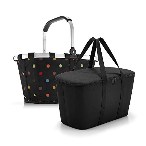 Set aus reisenthel carrybag + reisenthel coolerbag, Einkaufskorb mit passender Kühltasche, BK7009 dots + UH7003 Black