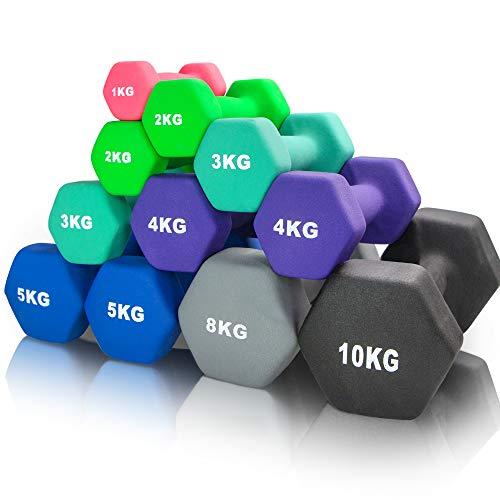 arteesol Hanteln, Neopren Kurzhanteln 2er-Set 1kg/2kg/3kg/4kg/5kg/8kg/10kg rutschfest Fitness Hantelset Workout Gewichte für Männer Damen Kinder Training Krafttraining Gymnastik