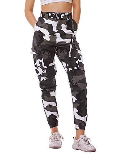 Damen Camouflage Sweathose Gürtel Hosen Taktischer Kampf Cargo Hose hoch taillierte Hosen Freizeithosen Arbeit Kampfhose Sporthosen für Frauen mit Gürtel M