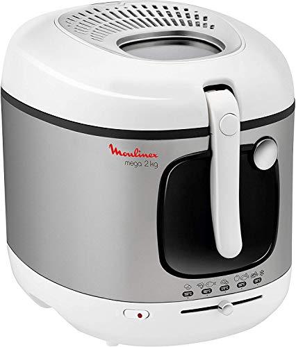 Moulinex AM4800 Mega 2kg Fritteuse   Fritteuse mit Öl   Anti-Geruchs-Filter   regelbare Temperatur   leichte Reinigung   knusprige Pommes   1.800 Watt   für bis zu 8 Personen   Weiß/Silber