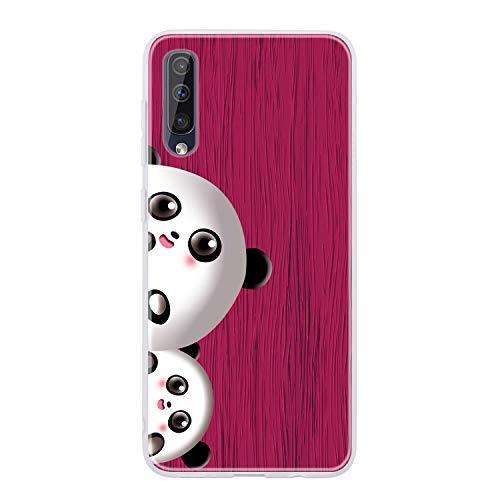 Miagon Holz Korn Hülle für Samsung Galaxy A50,Ultra Dünn Weiche Silikon Handyhülle Cover Stoßfest Schutzhülle mit Schöne Süß Panda Muster,Rose Rot