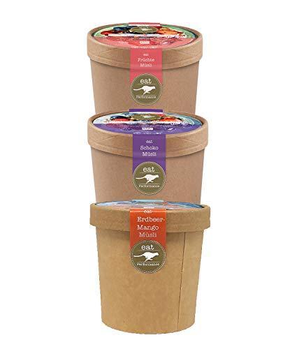 eat Performance® Müsli To Go Box (3x 65g) - Bio, Paleo, Glutenfreies Granola Aus 100% Natürlichen Zutaten