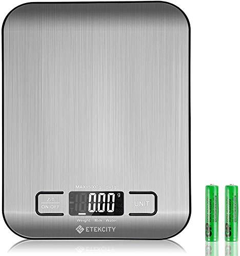 ETEKCITY Küchenwaage Digitalwaage Elektronische Waage 5KG mit großem LCD-Display, Ultra-dünne Küchenwaage aus Edelstahl, Flüssigkeitsmessung, hohe Präzision auf bis zu 1g, Tara-Funktion