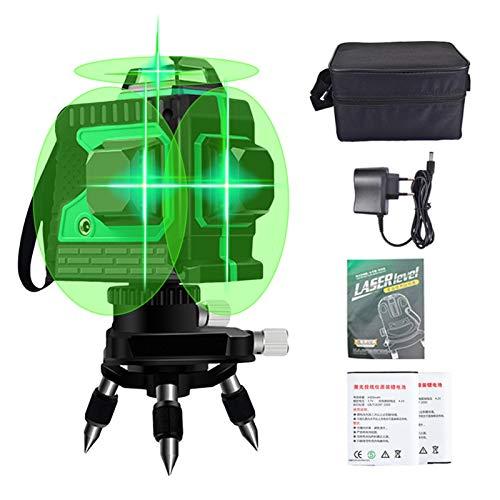 3 X 360° Kreuzlinienlaser Grün, Laser Wasserwaagen 25M, 3D 12 Linienlaser Professionel Grün Laserpegel, IP54 Wasserdicht Selbstnivellierende Vertikale und Horizontale Linie, inklusive 2pcs Batterie