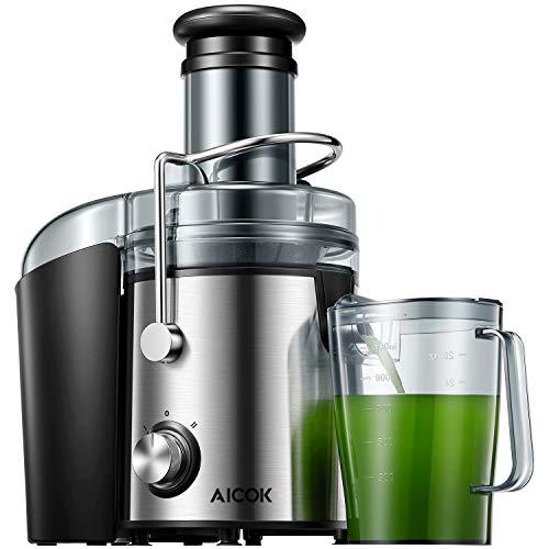 Entsafter Gemüse und Obst, AICOK 800W Zentrifugal Entsafter 75MM Einfüllöffnung, mit Anti-Tropf-Funktion und Überhitzungsschutz inkl, Geräuschloser Motor, BPA-Frei, Rutschfeste Füße