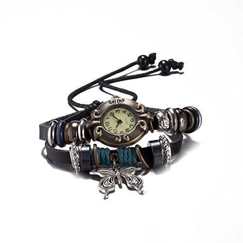 iLove EU Herren Damen Armbanduhr Retro Silber Schmetterling Anhänger Verstellbare Größe Leder Echtleder Armband Armreif Analog Quarz Uhr Schwarz